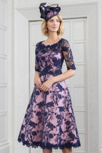 6f0af17244 An Elegant Lace and Mikado Tea Dress in Navy/Carnation and Pearl/Grey. The  dress has.